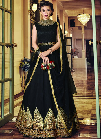 Black Color Banglori Silk Semi-Stitched Salwar - snowwhite-5811