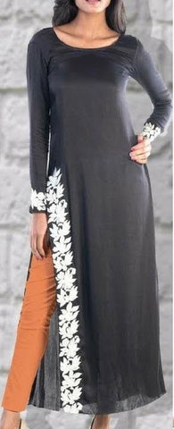Black Color Georgette Women's Stitched Kurti - sp_2019_z12