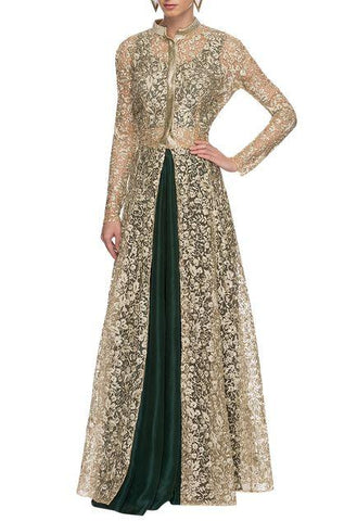 Golden And Bottle Green  Color Silk And Lace  Women's Stitched Dress - sp_2019_z1