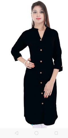 Black Color Rayon  Women's Stitched Kurti - sp_2019_z21