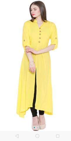 Yellow Color Rayon  Women's Stitched Kurti - sp_2019_z23