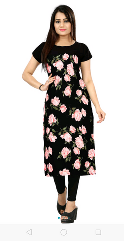 Black Color Polycrepe Women's Stitched Kurti - sp_2019_z24