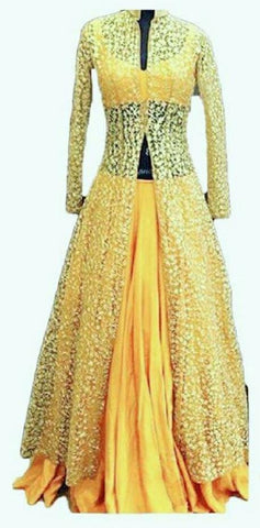 Yellow Color Lace Net With Silk  Women's Stitched Dress - sp_2019_z27