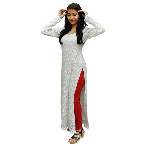 White Color Net Women's Stitched Kurti - sp_2019_z28