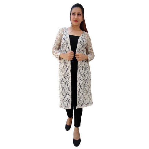 Beige Color Net Women's Stitched Shrug - sp_2019_z29