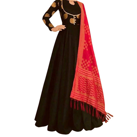 Choclate Brown Color Silk Women's Stitched Dress - sp_2019_z2
