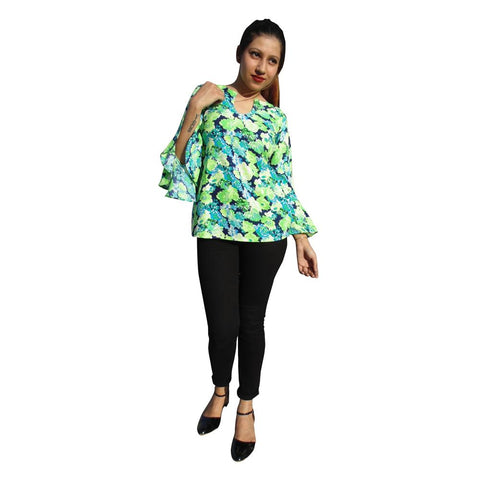 Green  Color Polycrepe Women's Stitched Top - sp_2019_z32