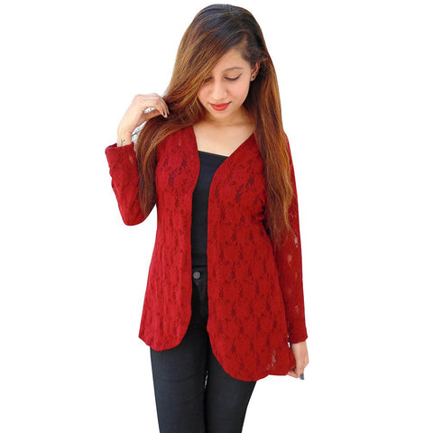 Red Color Net Women's Stitched Shrug - sp_2019_z33
