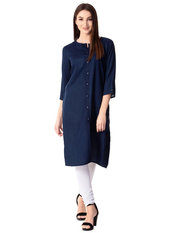 Navy Blue Color Cotton  Women's Stitched Kurti - sp_2019_z4