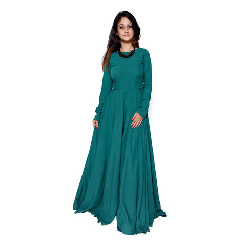 Teal Color Georgette Women's Stitched Dress - sp_2019_z6
