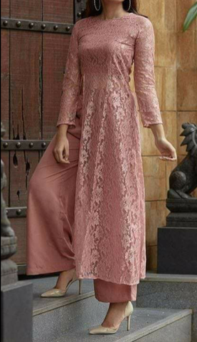 Mauve Color Lace Net Women's Stitched Dress - sp_2019_z7