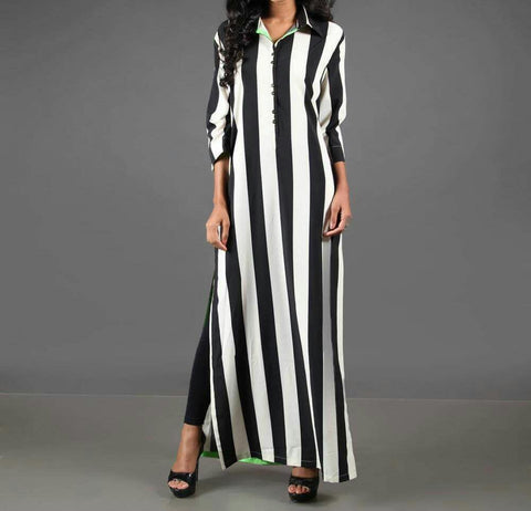 Black And White  Color Crepe Women's Stitched Kurti - sp_2019_z8
