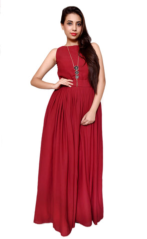 Maroon Color Georgette Women's Stitched Gown - sp_rspl_03