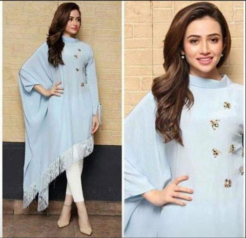Sky Blue Color Georgette Women's Stitched Kurti - sp_rspl_05