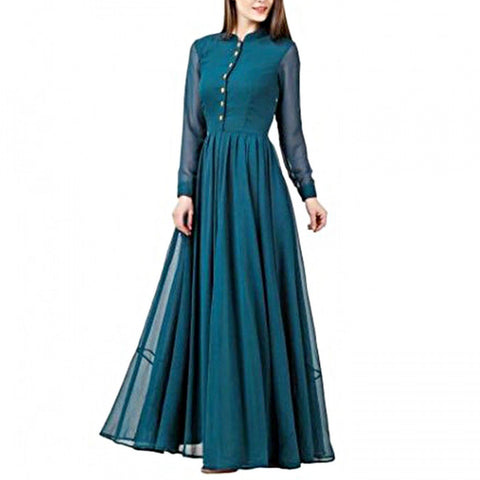 Teal Color Georgette Women's Stitched Gown - sp_rspl_06