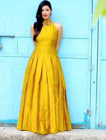 Yellow Color Dupian Silk Women's Stitched Gown - sp_rspl_14