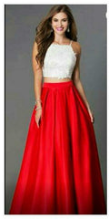 Buy Red And White  Color Net And Dupian Silk Women's Stitched Top With Skirt