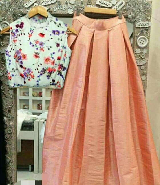 Buy Floral Print With Peach  Color Polycrepe And Dupian Silk Women's Stitched Top With Skirt
