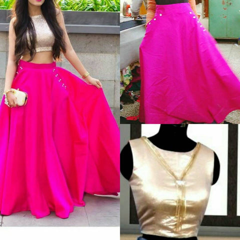 Golden And Hot Pink Color Silk Women's Stitched Top With Skirt - sp_rspl_19
