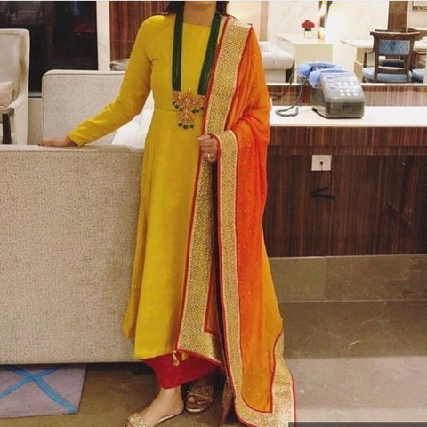 Yellow And Red  Color Raw Cotton  Women's Stitched Dress - sp_rspl_23
