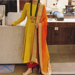 Buy Yellow And Red  Color Raw Cotton  Women's Stitched Dress
