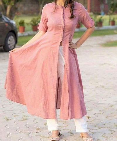 Pink Color Raw Cotton  Women's Stitched Kurti - sp_rspl_24