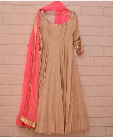 Beige And Pink  Color Silk Women's Stitched Gown - sp_rspl_26