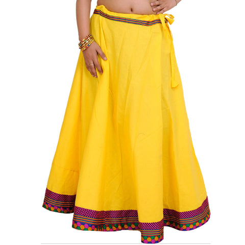 Yellow Color Cotton Women's Stitched Skirt - sp_rspl_28