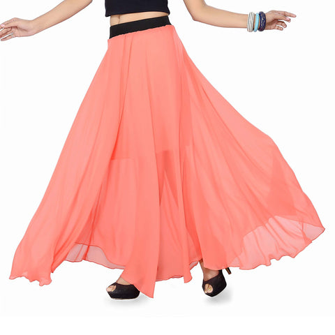 Peach Color Georgette Women's Stitched Skirt - sp_rspl_31