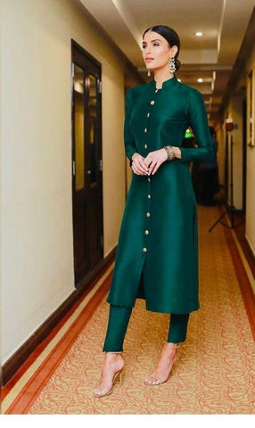 Bottle Green Color Taffeta Silk Women's Stitched Kurti - sp_tunic03