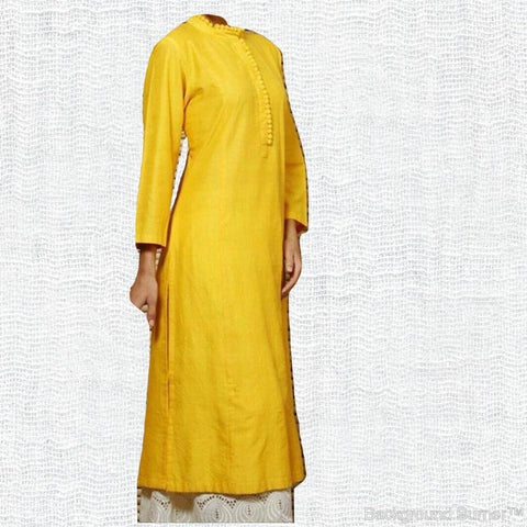 Yellow  Color Cotton Women's Stitched Kurti - sp_tunic07