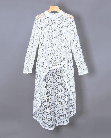 White  Color Net  Women's Stitched Tunic - sp_tunic08