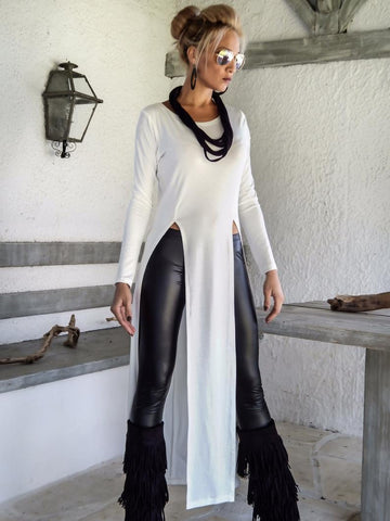 White  Color Lycra Women's Stitched Tunic - sp_tunic09