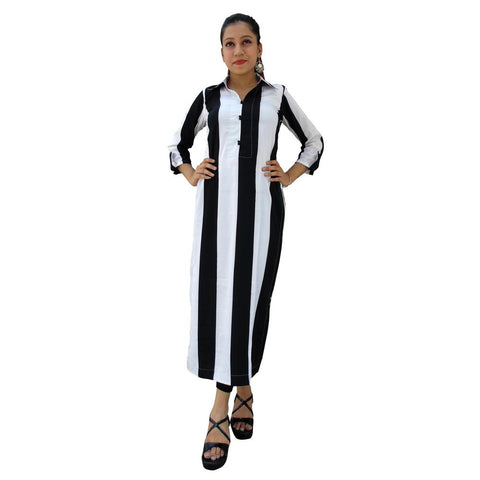 Black Color Crepe Women's Stitched Kurti - sp_tunic12