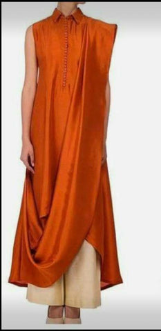 Orange Color Silk Kurti - spk001