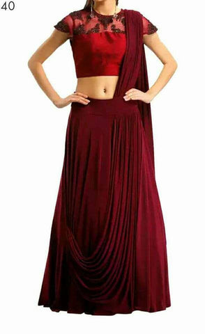 Red Color Poly Crepe Lehenga - spk006