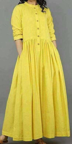 Yellow Color Cotton Kurti - spk011
