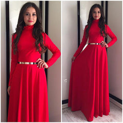 Red Color Poly Crepe Dress