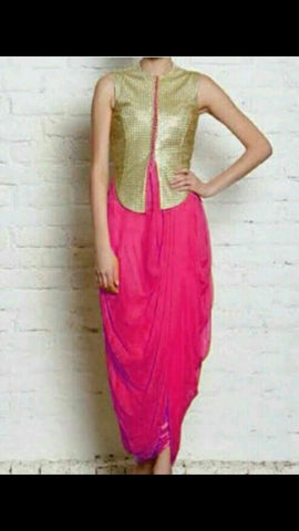Pink Color Brocade and Georgette Dress - spk015