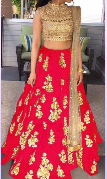 Red and Gold Color Net and Brocade Lehenga