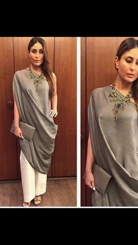 Grey Color Silk Kurti - spk028