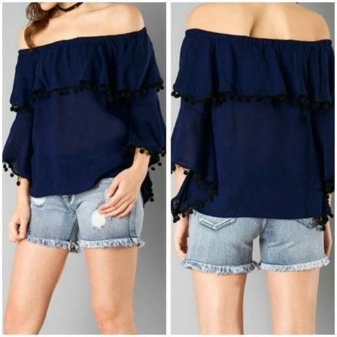 Navy Blue Color Georgette Top and Tee - sptp003