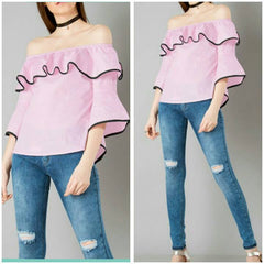 Pink Color Crepe Top and Tee
