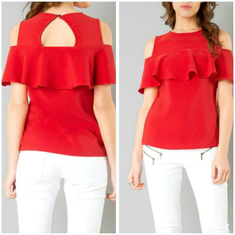 Red Color Crepe Top and Tee - sptp007