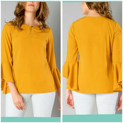 Mustard Color Crepe Top and Tee