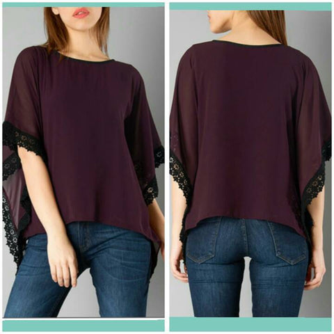 Wine Color Crepe Top and Tee - sptp010