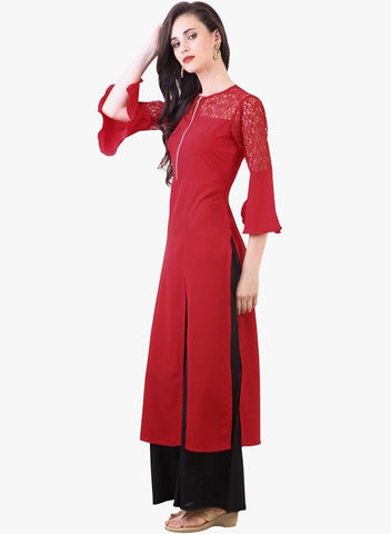 Red Color Georgette Kurti - sptp018
