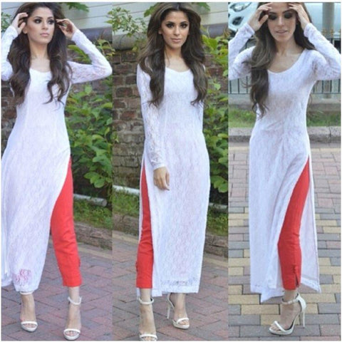 White Color Embroidery Net Long Kurti - sptp019