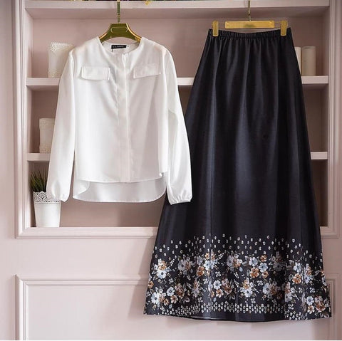 White Color Cotton Women's Stitched Top with Skirt - st-11143