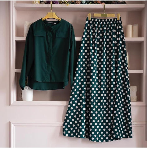 Green Color Cotton Women's Stitched Top with Skirt - st-16143